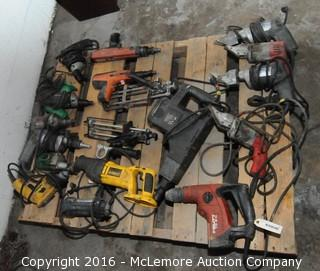 Contents of Pallet of Hand Tools of Drills, Electric Metal Shears, Power Drills, Powered Actuated Nailer, Calk Guns and Reciprocating Saw.