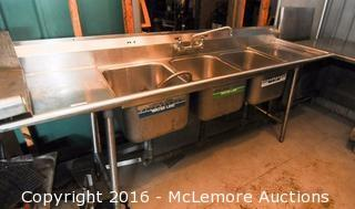 Commercial Stainless Steel 3 Well Sink