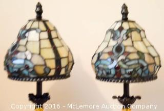 Two Tiffany Style Stained-Glass Lamps