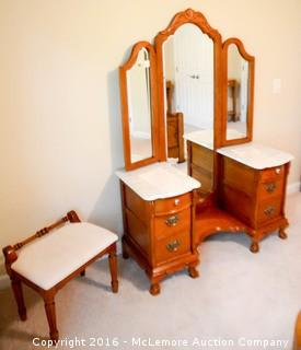 Marble Topped Vanity with Matching Stool