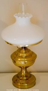 Two Brass Lamps with Milk Glass Shades