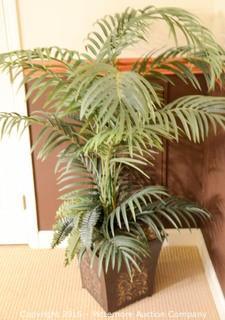 Metal Flowerpot with Artificial Palm