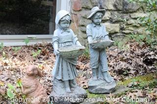 2 Composite Statues, 3 Broken Bunnies and 2 Plastic Frogs