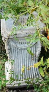 Concrete Statue Of A Lady Holding Urn Of Flowers