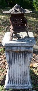 Concrete Pedestal With Japanese Style Wroght Iron Firefly Lantern