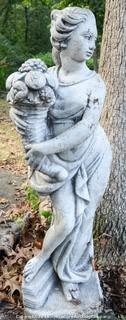Concrete Statue Woman Holding Cornucopia