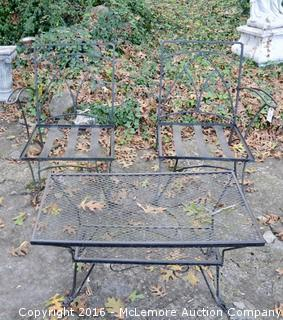 Table and Two Chairs Made Of Wrought Iron