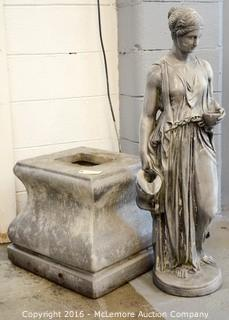 Statue of a Woman Holding Water Jug with Base