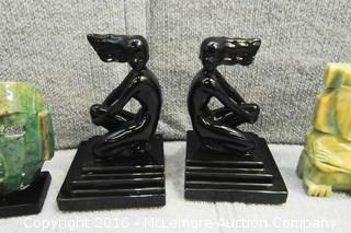 Assortment of Home Decor of Mask, Metal Sculptures and Carved Sculptures