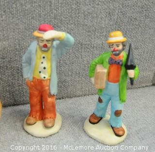 Assortment of Home Decor Items of Candlesticks, Pottery, Vases, Clowns and Serveware
