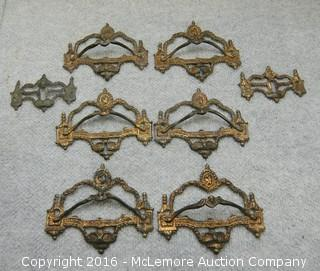 6 Decorative Vintage Drawer Pulls and 2 Lock Covers