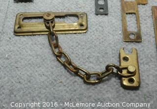 Assortment of Antique and Vintage Brass Door Plates, Pulls, Latches and Knobs