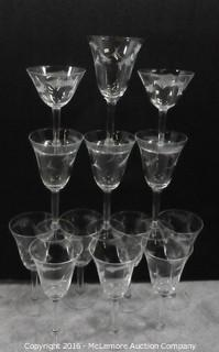 13 Etched Wine Glasses