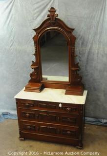 Antique Victorian Walnut 3 Drawer with Hidden Bottom Draw Mirrored Dresser with Marble Top Circa 1870's