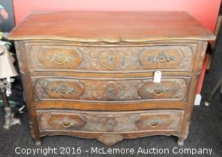 Baker Furniture Hand Carved Wooden 3 Drawer Dresser Chest Believed to be Circa 1930's