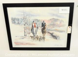 Fox Hunt Scene Limited Edition 311/1000 Believed to Be Watercolor Print Titled Shake Rag Saturday Double Signed by Artist
